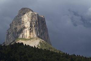 Mont Aiguille limestone mesa in Chichilianne Isere Region Vercors Regional Natural Park France June 2016