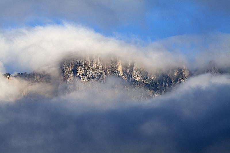Mont Aiguille in mist Haut Plateau Ridge near Chichiliane Vercors National Park Vercors France June 2016