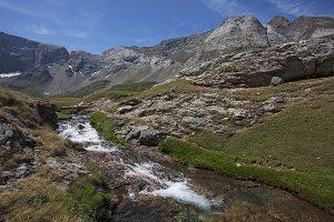 Gave de Heas with part of the Cirque de Troumouse beyond Pyrenees National Park France July 2015