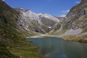 Lac d'Ossoue reservoir in the Ossoue valley Pyrenees National Park France July 2015