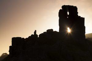 Corfe castle at sunrise Isle of Purbeck Dorset England UK