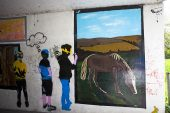 The Walk of Art underpass with artwork by Ringwood students Ringwood Hampshire England UK