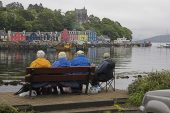 Colourful cottages beside the harbour Tobermory Mull Scotland