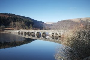 Caban-coch Reservoir and bridge to the Claerwen Valley Powys Wales United Kingdom