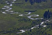 Telephoto view of river running through West Horseshoe Park Rocky Mountain National Park Colorado USA June 2015