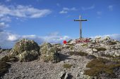 Memorial  to HMS Coventry near The Settlement and First Mountain Pebble Island Falkland Islands British Overseas Territory December 2016