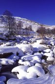 Fresh snow on boulders in the Claerwen River Claerwen Valley Powys Wales