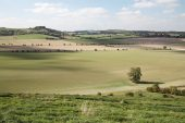 Valley fields and downland near Fovant Wiltshire England UK