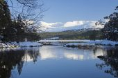 River Luineag flowing out of Loch Morlich with the Cairngorm Mountains beyond, Highland Region, Scotland