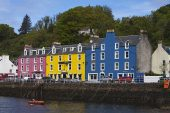 Colourful buildings on the harbour front Tobermory Isle of Mull Inner Hebrides Argyll and Bute Scotland May 2014