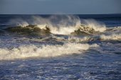Breaking waves in Spey Bay at Lossiemouth Moray Scotland UK October 2015