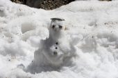 Small snowman made by clients Asco Valley Parc Naturel Regional de la Corse Corsica France