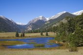 Sheep Lakes with the Mount Chapin and Chiquita beyond Horseshoe Park Rocky Mountain National Park Colorado USA