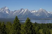 View from Signal Mountain to Grand Teton and the Teton Mountain Range Grand Teton National Park Wyoming USA June 2015