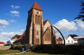 Christ Church Cathedral and the Whalebone Arch Stanley Falkland Islands November 2015