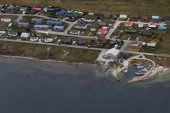 Aerial view of Stanley capital city of the Falkland Islands East Falkland British Overseas Territory December 2016
