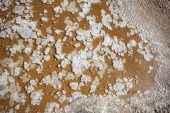 Salt crystals formed on drying out puddle beside the Stagno di Cagliari Sardinia Italy September 2014
