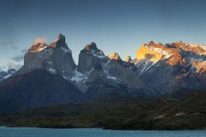 Lake Pehoe and The Blue Massif Torres del Paine National Park he Andes Patagonia Chile South America December 2016