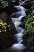 Stream rushing through the rocks Claerwen Valley Powys Wales UK