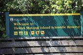 Information board at Tiritiri Matangi Island Scientific Reserve North Island New Zealand
