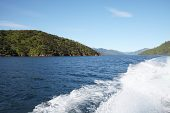 Wake from boat in Queen Charlotte Sound New Zealand