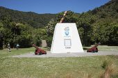 Commemorative monument to Captain Cook Ships Cove South Island New Zealand