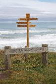 Signpost at McCrackens Rest Lookout and Tawaewae Bay South Island New Zealand