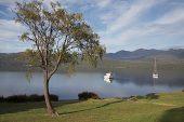 Boats on Lake Te Anau South Island New Zealand